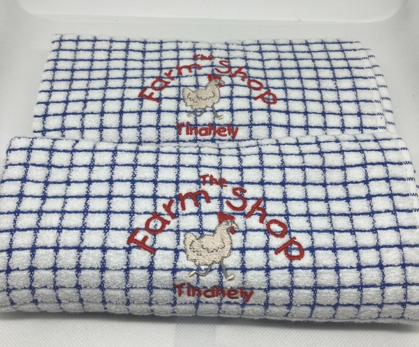 2 poly dry blue Tinahely Farm Shop tea towels €14.50 plus €5.00