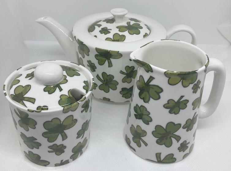 Shamrock Design - Tea Pot, Sugar Bowl and Milk Jug